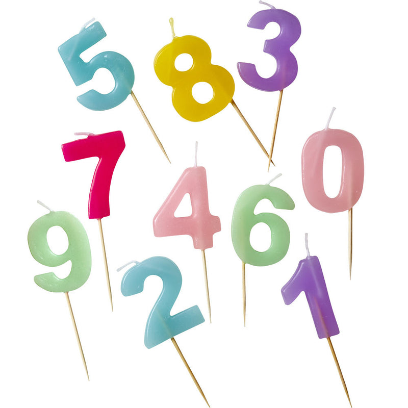 Number Candles in Pastel Colors