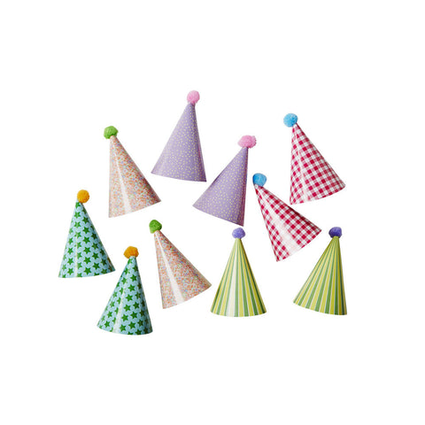 10 Mini Paper Party Hat Cake Decorations  Cake Toppers Rice DK - Hello Party
