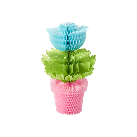 Blue Honeycomb Flowerpot Decoration - Hello Party - All you need to make your party perfect!