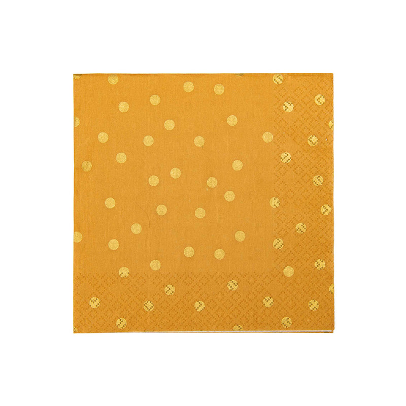 Mustard Yellow with Gold Polka Dots Paper Party Napkins