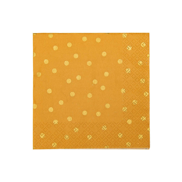Mustard Yellow with Gold Polka Dots Napkins