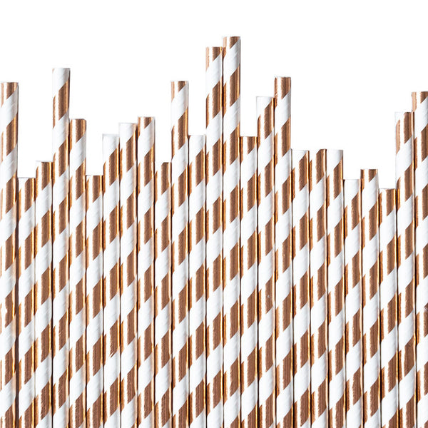Rose Gold Diagonal Striped Paper Straws  Paper Straws Hello Party Essentials - Hello Party