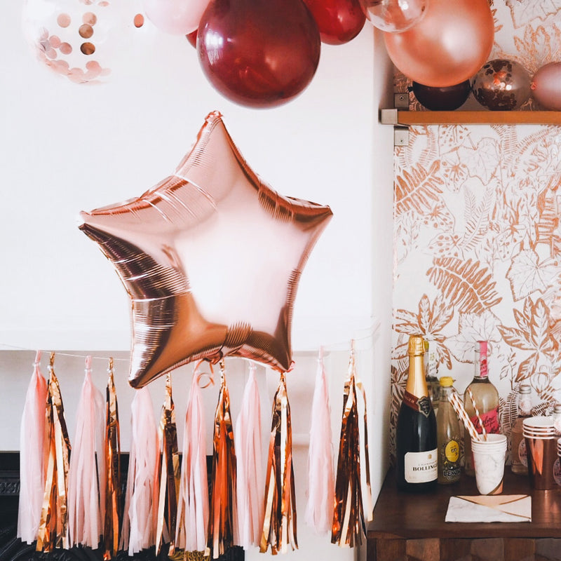 "Rose Gold Star Shaped Foil Balloon (18"")  Balloons Hello Party Essentials - Hello Party"