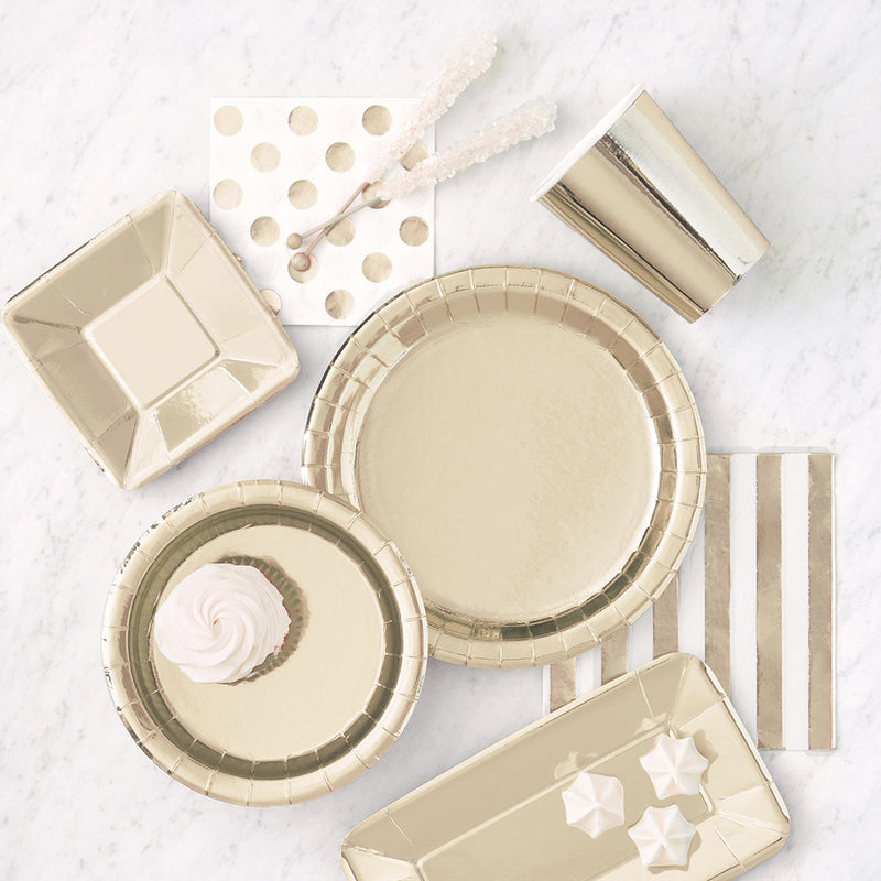 Shiny Metallic Gold Round Paper Plates  Party Plates Unique - Hello Party