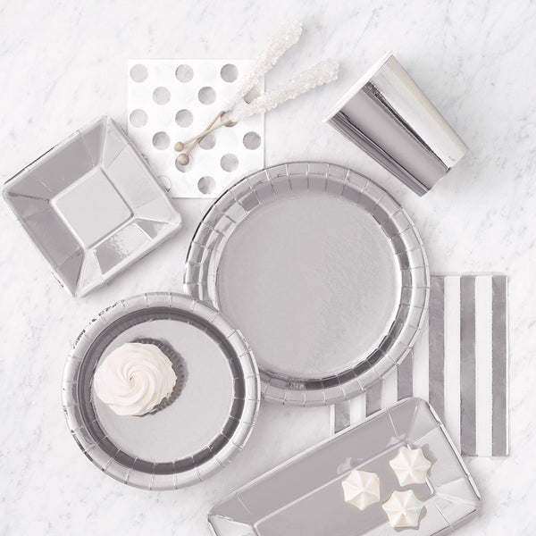 Shiny Metallic Silver Rectangular Paper Plates  Party Plates Unique - Hello Party