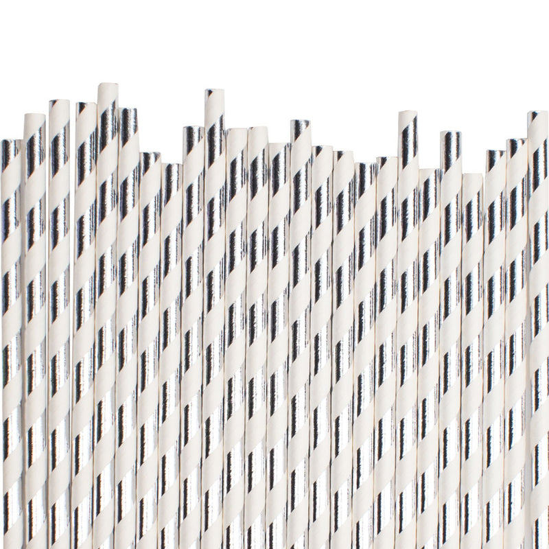 Silver Diagonal Striped Paper Straws  Paper Straws Hello Party Essentials - Hello Party