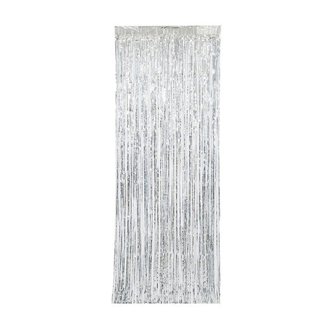Silver Metallic Party Door Curtain