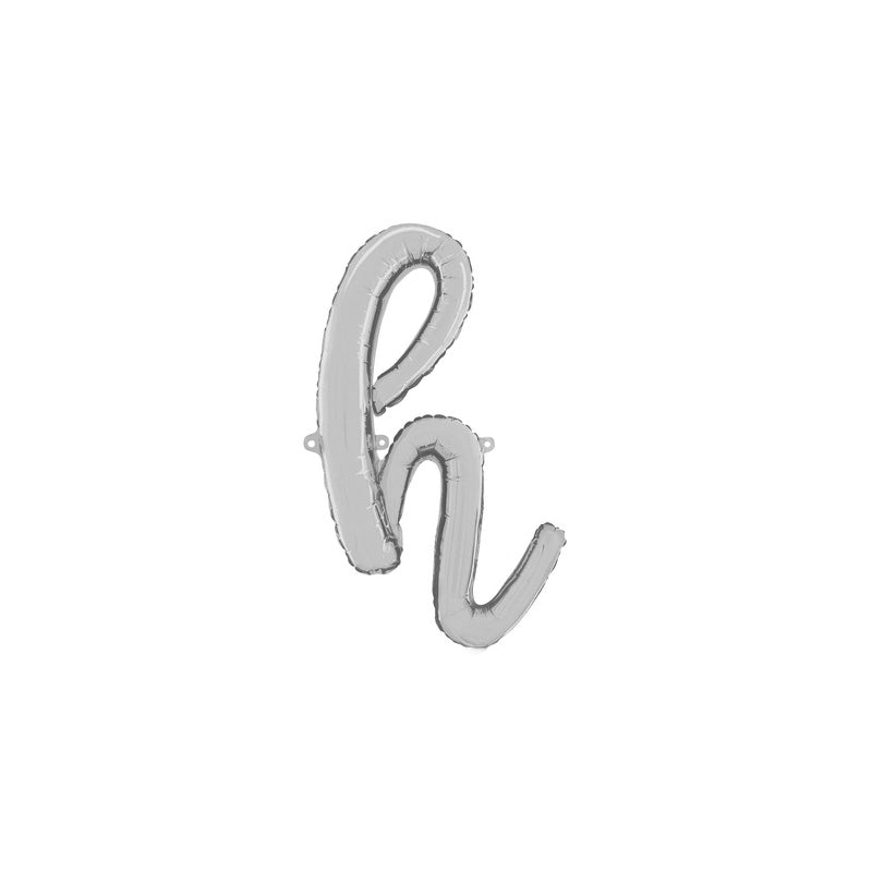 Individual Silver Script Letter Foil Balloons (air-fill)  Balloons Betallic - Hello Party
