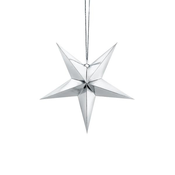 Silver Paper Star Hanging Decoration (30cm)