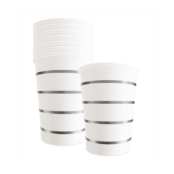 Silver Striped Cups  Party Cups Delight Department - Hello Party