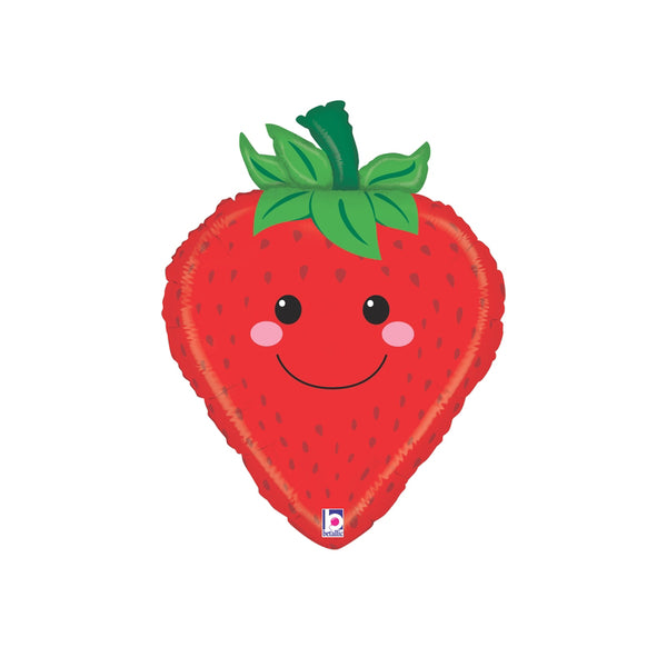 Smiley Happy Strawberry Large Foil Balloon  Balloons Betallic - Hello Party