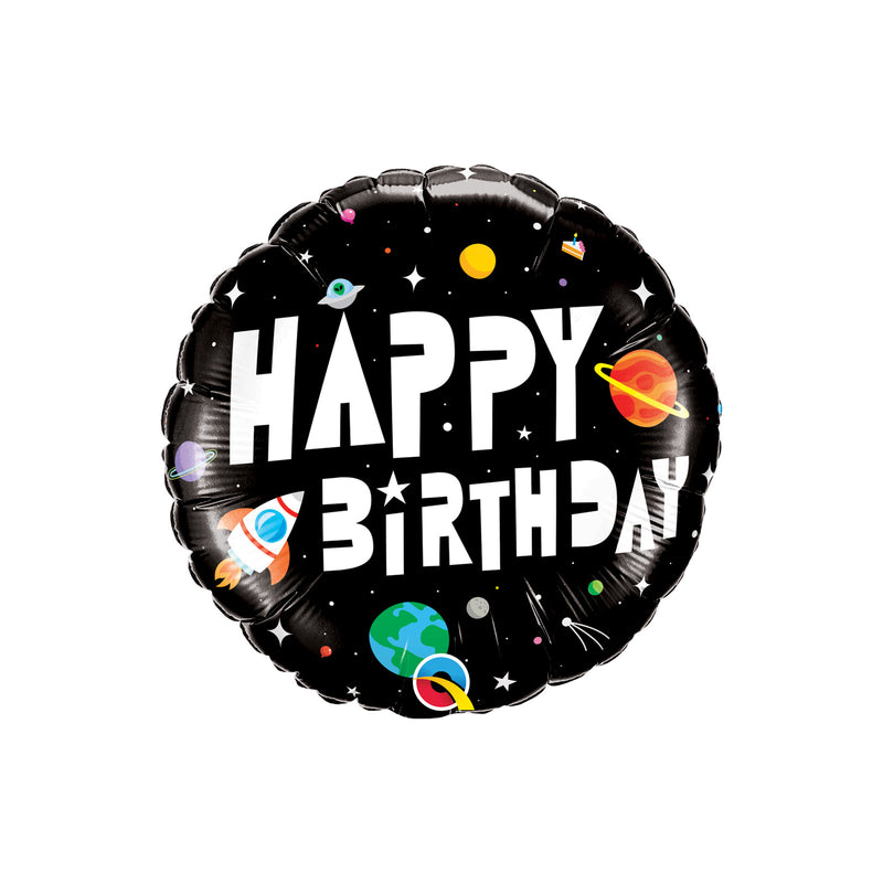 Birthday Astronaut Round Foil Balloon  Standard Foil Balloons qualatex - Hello Party