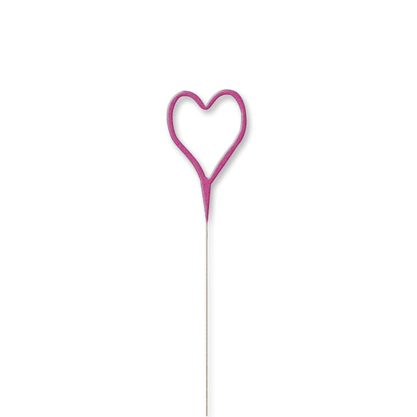 Heart Shaped Shaped Sparkler - Pink  Party Candles HelloPartyUK - Hello Party