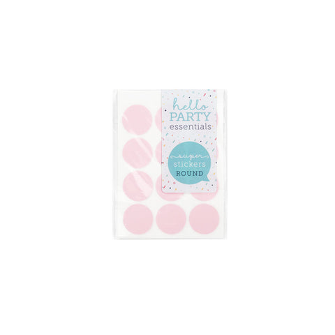 36 Small Round Stickers 18mm Pink