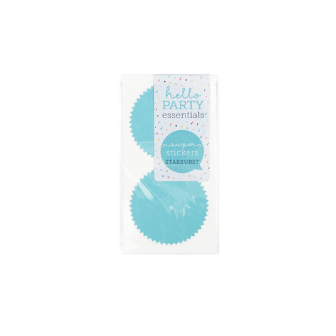 6 Large Starburst Shaped Stickers Pastel Blue