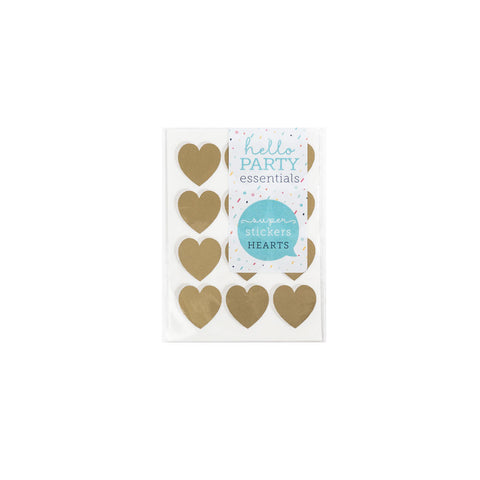 36 Small Heart Shaped Stickers Gold