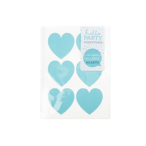 18 Large Heart Shaped Stickers Pastel Blue