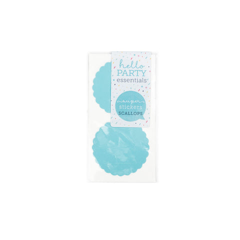 6 Large Round Scalloped Edged Stickers Pastel Blue
