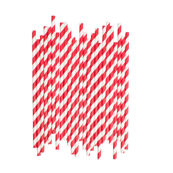 Red Diagonal Striped Paper Straws  Paper Straws Hello Party Essentials - Hello Party