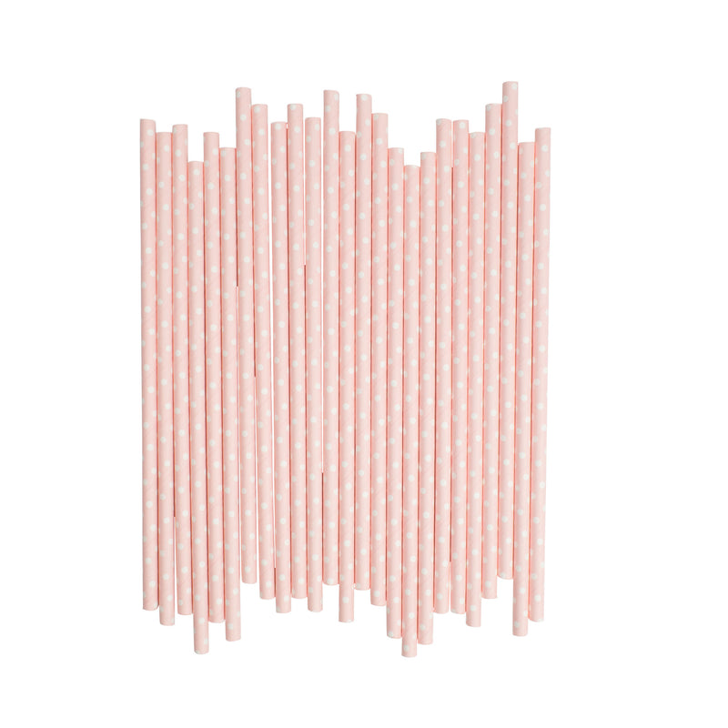 Light Pink With White Spots Paper Straws  Paper Straws Hello Party Essentials - Hello Party