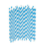 Blue Diagonal Striped Paper Straws