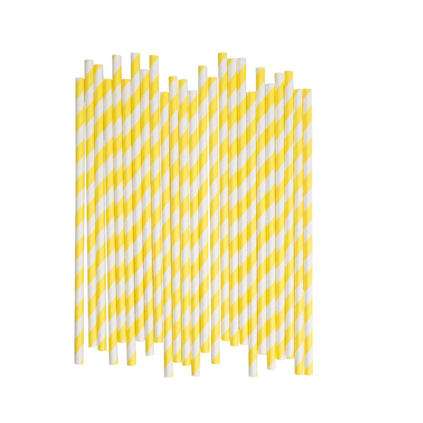 Yellow Diagonal Striped Paper Straws