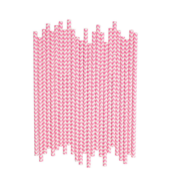 Bright Pink Chevron Paper Straws  Paper Straws Hello Party Essentials - Hello Party