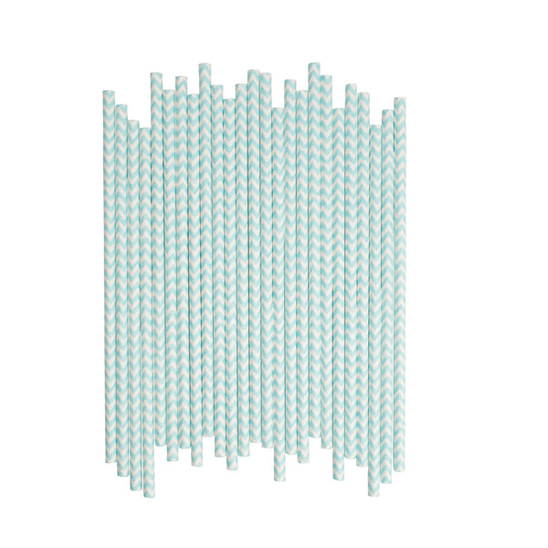 Light Blue Chevron Paper Straws  Paper Straws Hello Party Essentials - Hello Party