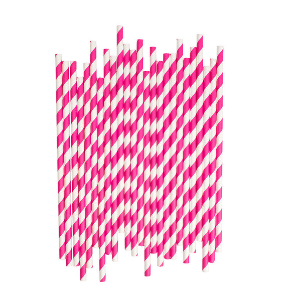 Hot Pink Diagonal Striped Paper Straws