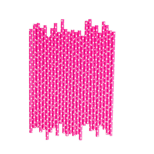 Hot Pink With White Spots Paper Straws