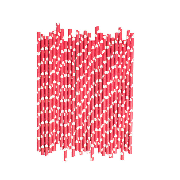 Red With White Hearts Paper Straws