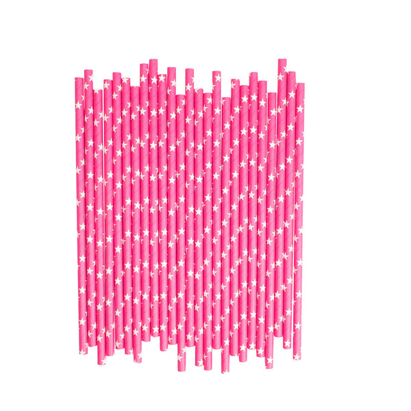 Hot Pink With White Stars Paper Straws