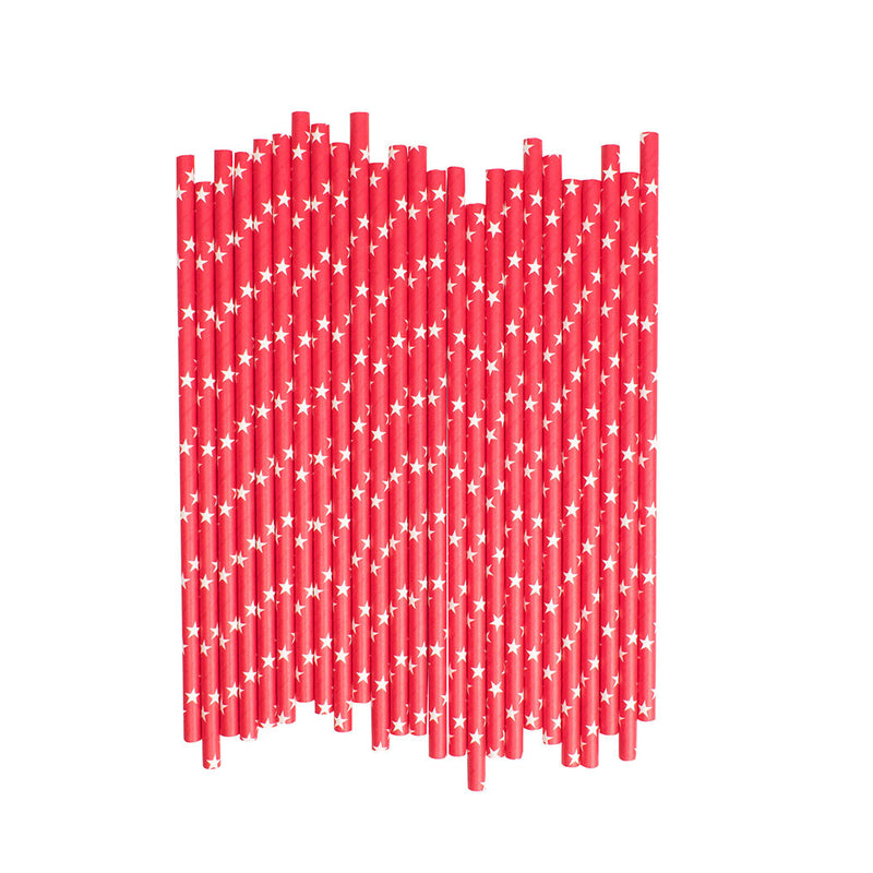 Red With White Stars Paper Straws  Paper Straws Hello Party Essentials - Hello Party