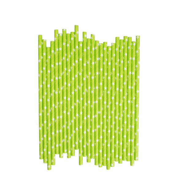 Green With White Stars Paper Straws