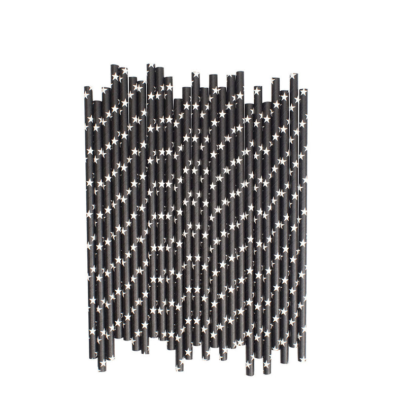 Black With White Stars Paper Straws  Paper Straws Hello Party Essentials - Hello Party