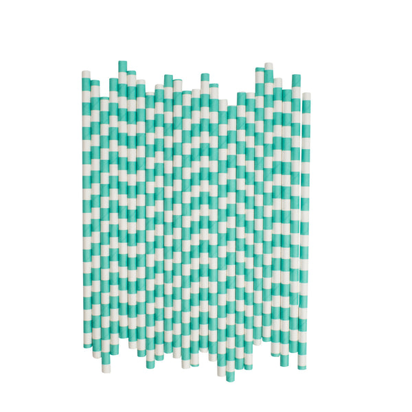 Aqua Sailor Striped Paper Straws  Paper Straws Hello Party Essentials - Hello Party