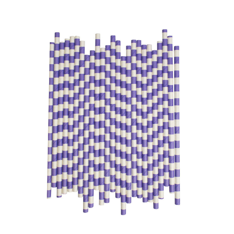 Purple Sailor Striped Paper Straws  Paper Straws Hello Party Essentials - Hello Party