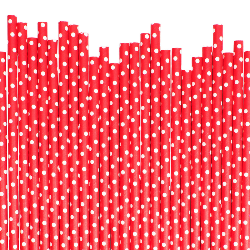 Red With White Spots Paper Straws  Paper Straws Hello Party Essentials - Hello Party