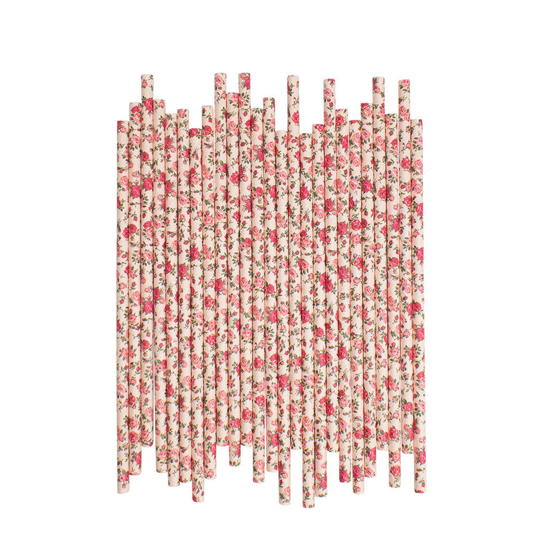 Pink Vintage Rose Paper Straws  Paper Straws Hello Party Essentials - Hello Party