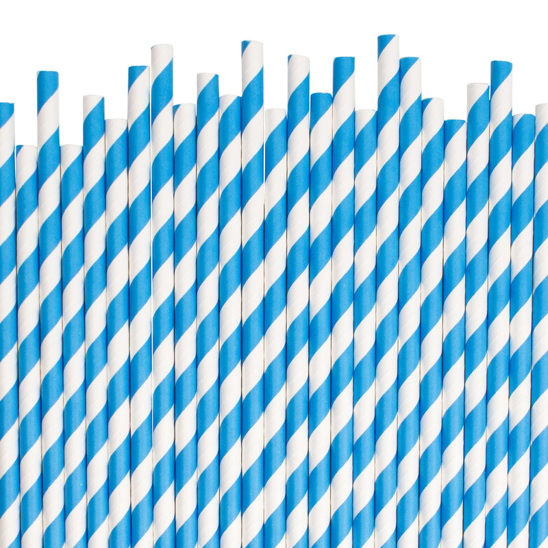 Blue Diagonal Striped Paper Straws  Paper Straws Hello Party Essentials - Hello Party