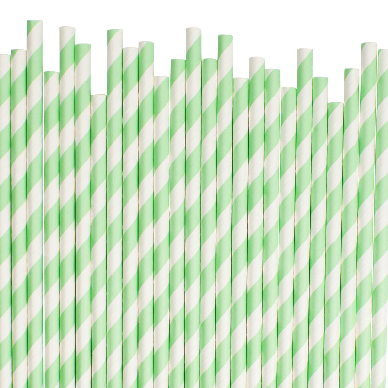 Mint Diagonal Striped Paper Straws  Paper Straws Hello Party Essentials - Hello Party