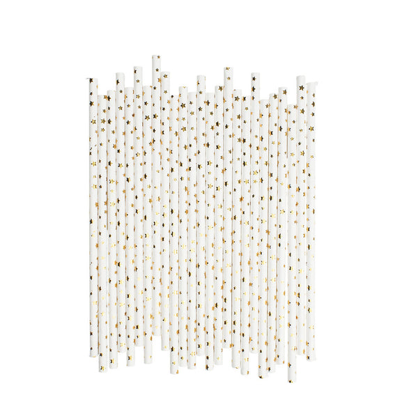 Little Gold Stars Paper Straws