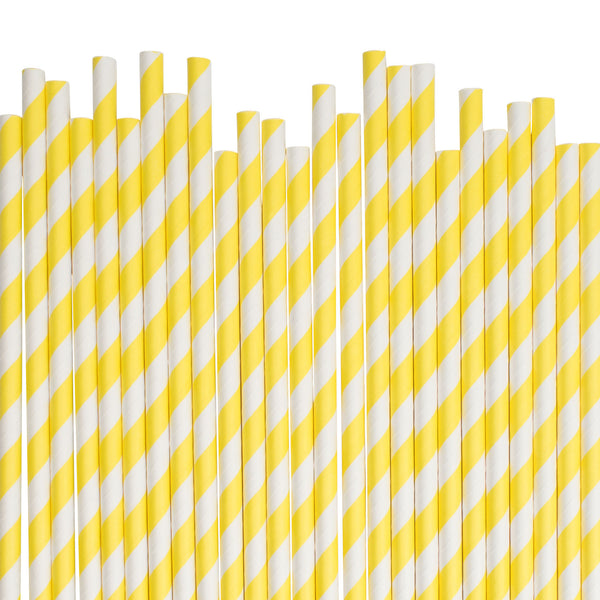 Yellow Diagonal Striped Paper Straws  Paper Straws Hello Party Essentials - Hello Party