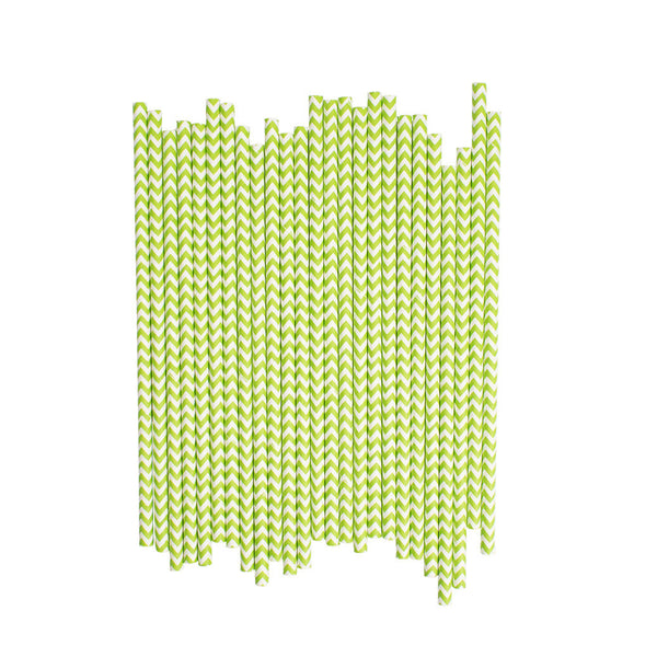 Green Chevron Paper Straws  Paper Straws Hello Party Essentials - Hello Party