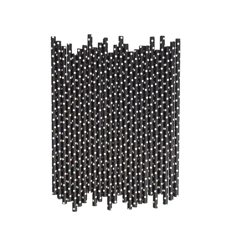Black With White Spots Paper Straws  Paper Straws Hello Party Essentials - Hello Party