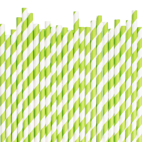 Green Diagonal Striped Paper Straws