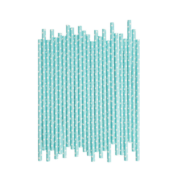 Light Blue With White Spots Paper Straws