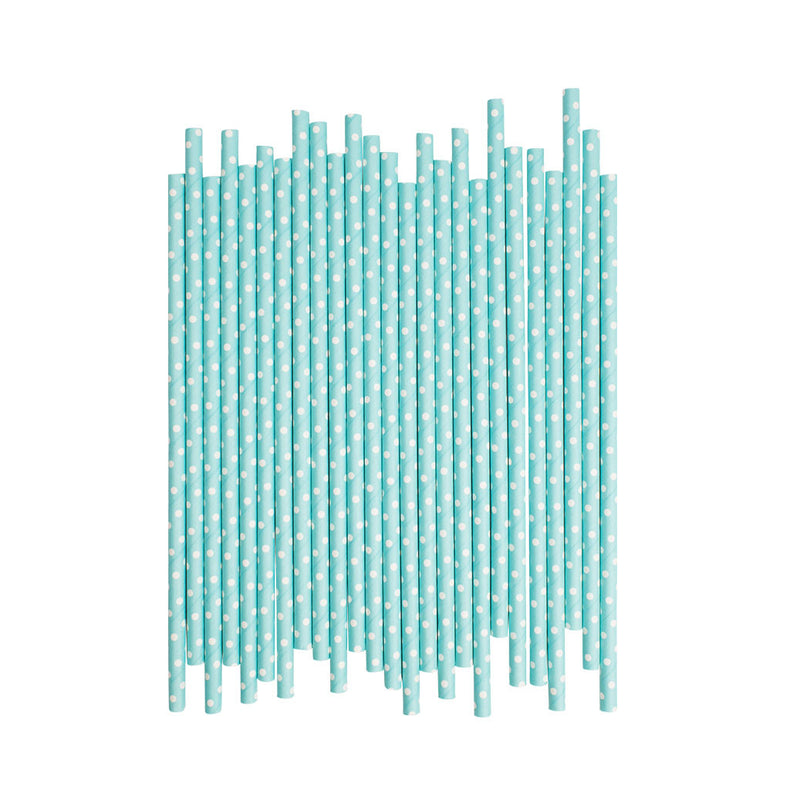 Light Blue With White Spots Paper Straws  Paper Straws Hello Party Essentials - Hello Party