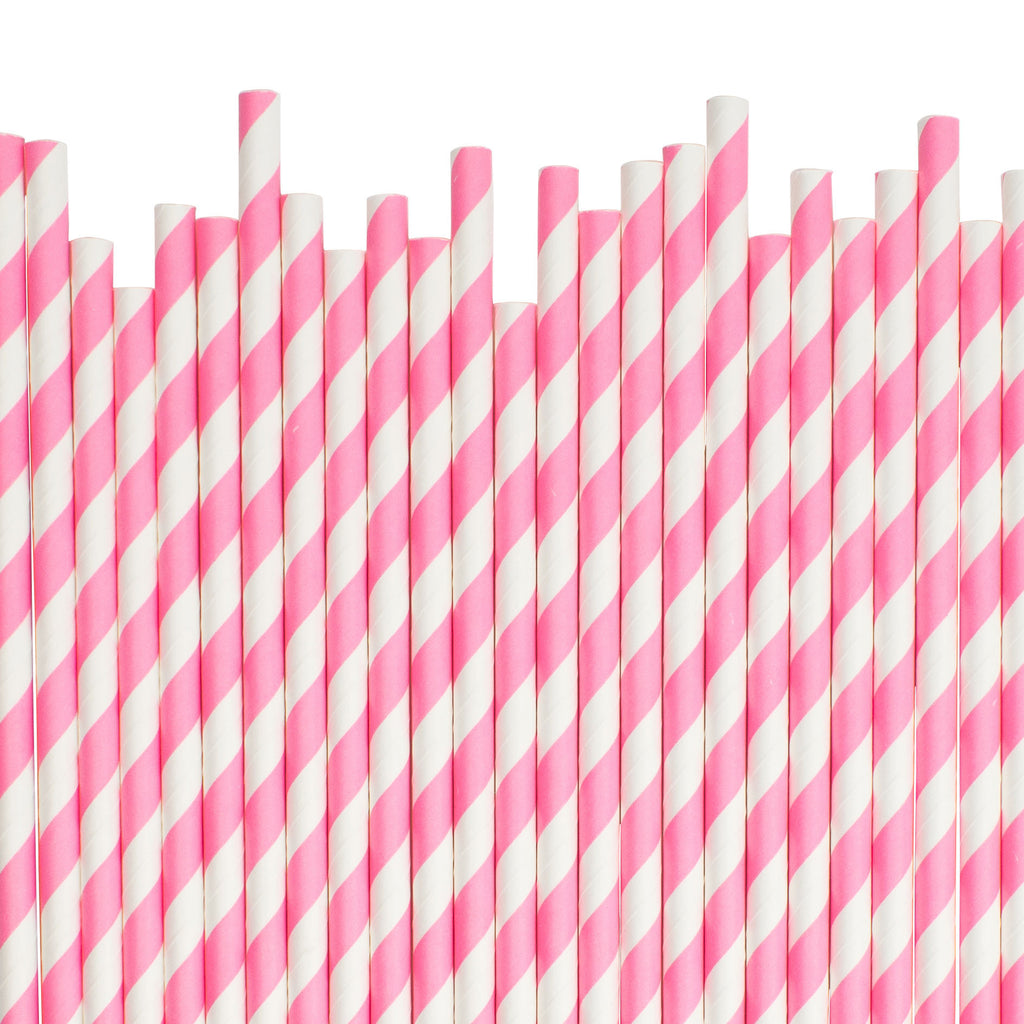Bright Pink Diagonal Striped Paper Straws
