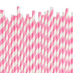 Bright Pink Diagonal Striped Paper Straws  Paper Straws Hello Party Essentials - Hello Party